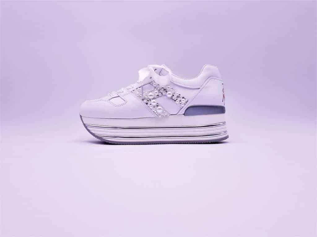 Hogan custom pearl par Double G Customs, chaussures de mariage personnalisées Hogan.