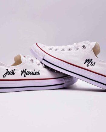 Converse mariage just married Elegance low réalisées par Double G Customs, créateur de chaussures de mariage personnalisées