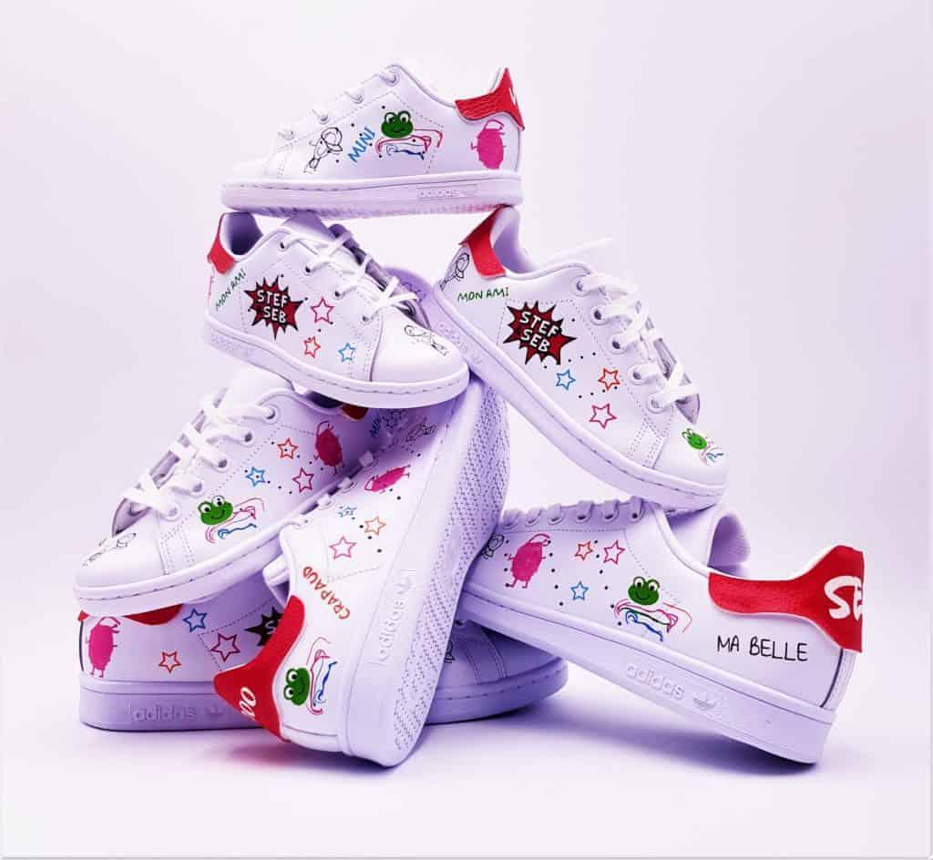 Un mariage en stan smith fun et décontracté, chaussures de mariage personnalisées réalisées par double g customs
