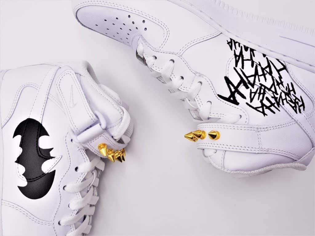 Nike air force 1 custom Batman par Double G Customs, sneakers custom sur le thème de batman.