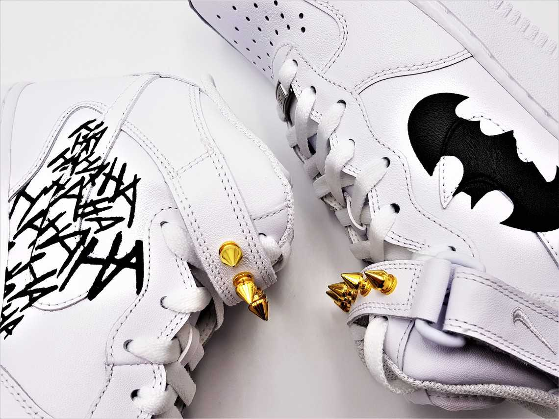 Nike air force 1 custom Batman par Double G Customs, sneakers custom sur le thème de batman.