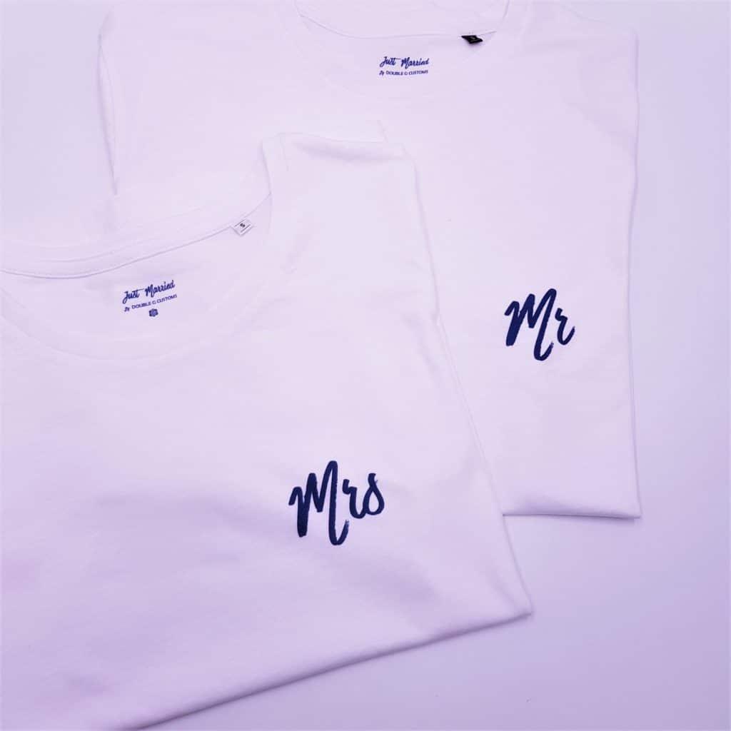 t-shirt personnalisé Mrs - Mrs par double g customs, le t-shirt indispensable à emmener en lune de miel !
