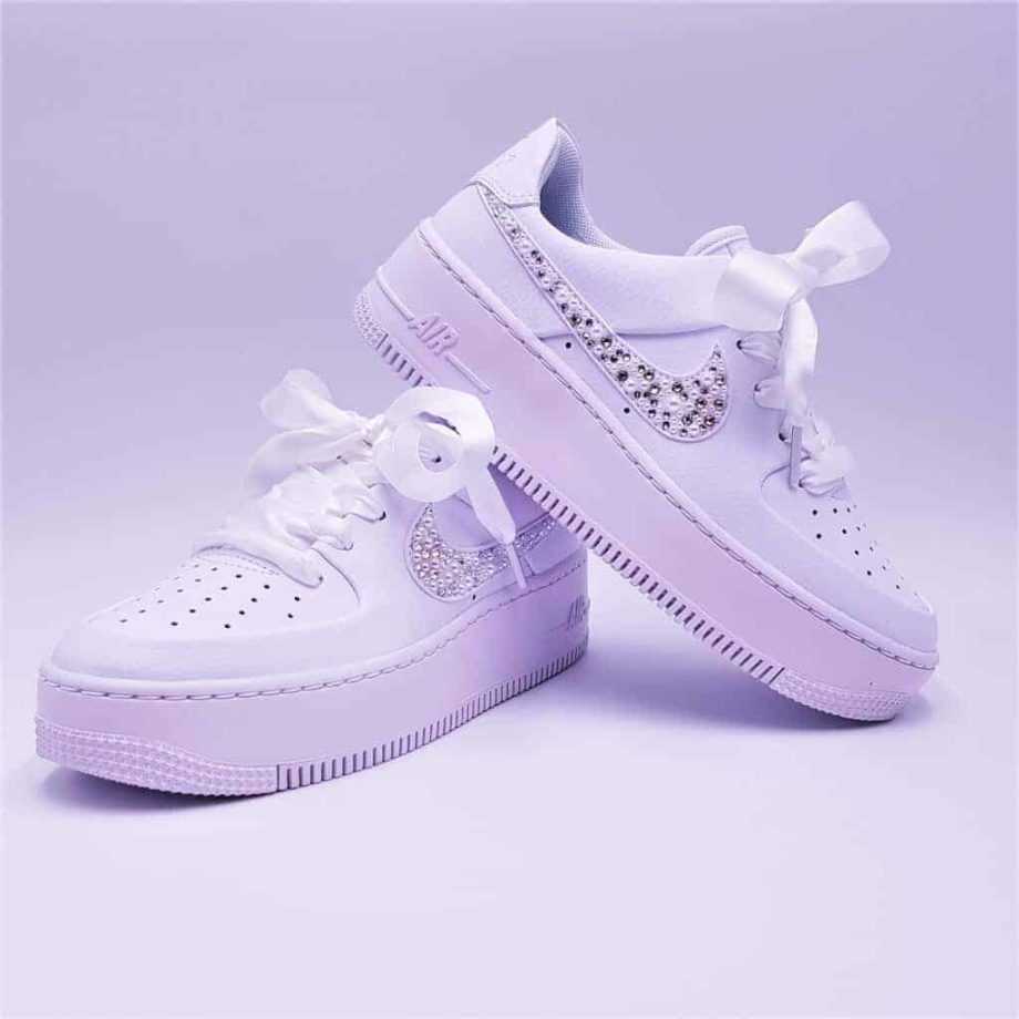 The Nike Air Force 1 Wedding Pearl, a pair of shoes customized by Double G Customs for sneaker weddings.