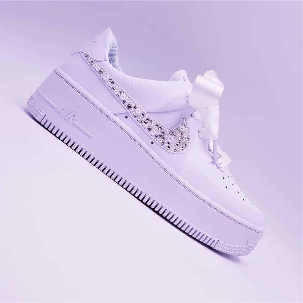 Custom Swarovski Nike Air Force 1 Sage Low Sneakers with