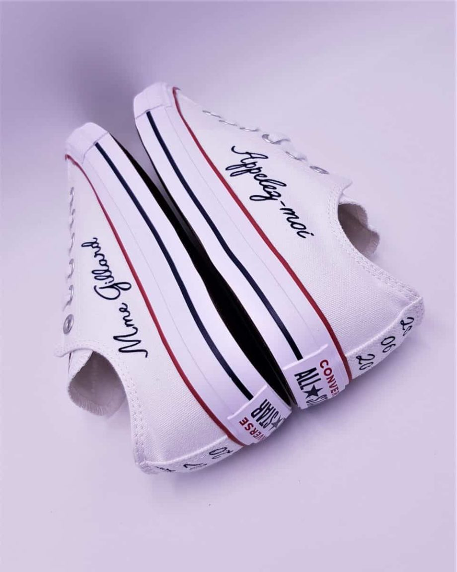 Chaussures personnalisées Converse Appelez-moi Madame par Double G Customs, créateur de chaussures customisées pour les mariages.