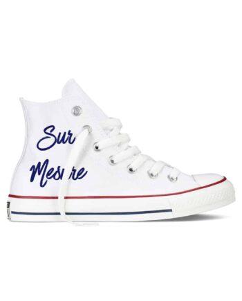 Une paire de Converse personnalisée pour votre mariage. Créez une paire sur mesure chez Double G Customs, atelier de customisation pour chaussures de mariage.