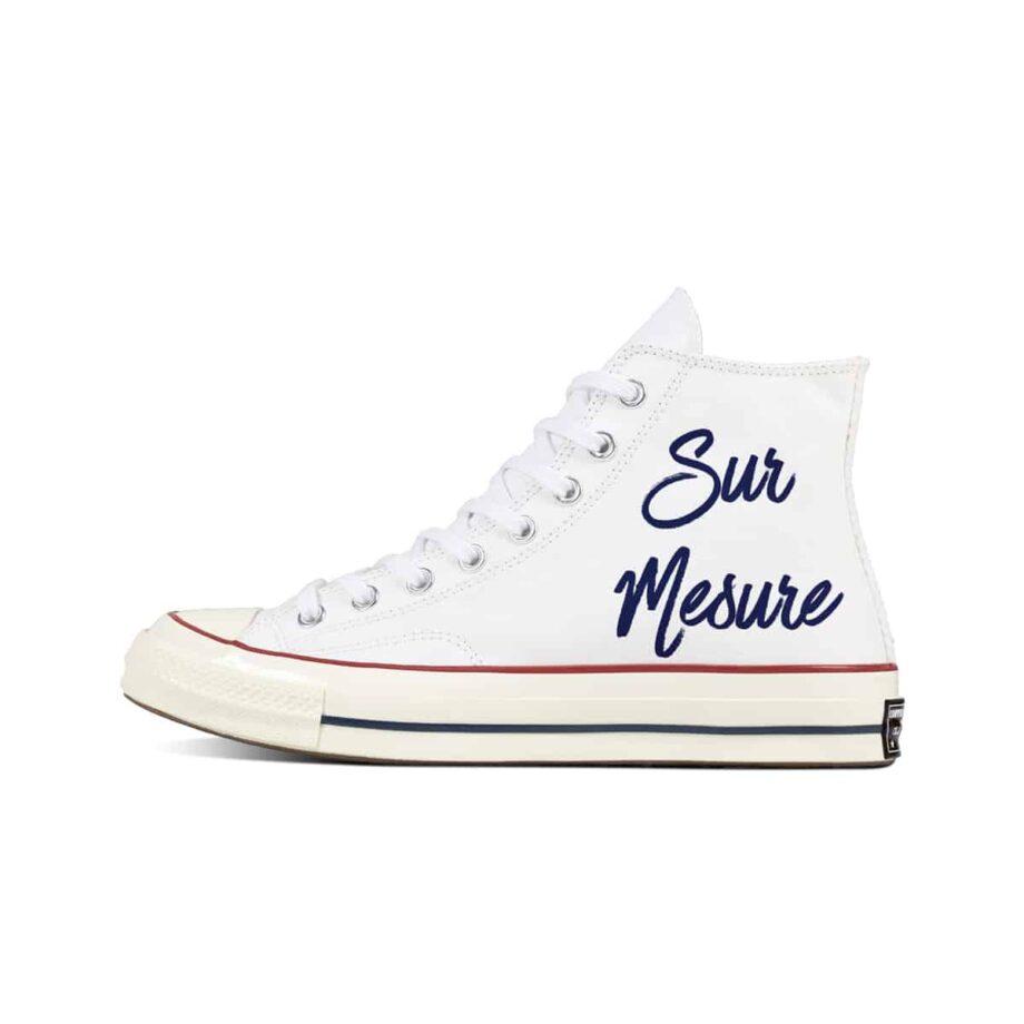 Créez une paire de converse 70s personnalisée avec Double G Customs, atelier de création de chaussures personnalisées pour les mariages.